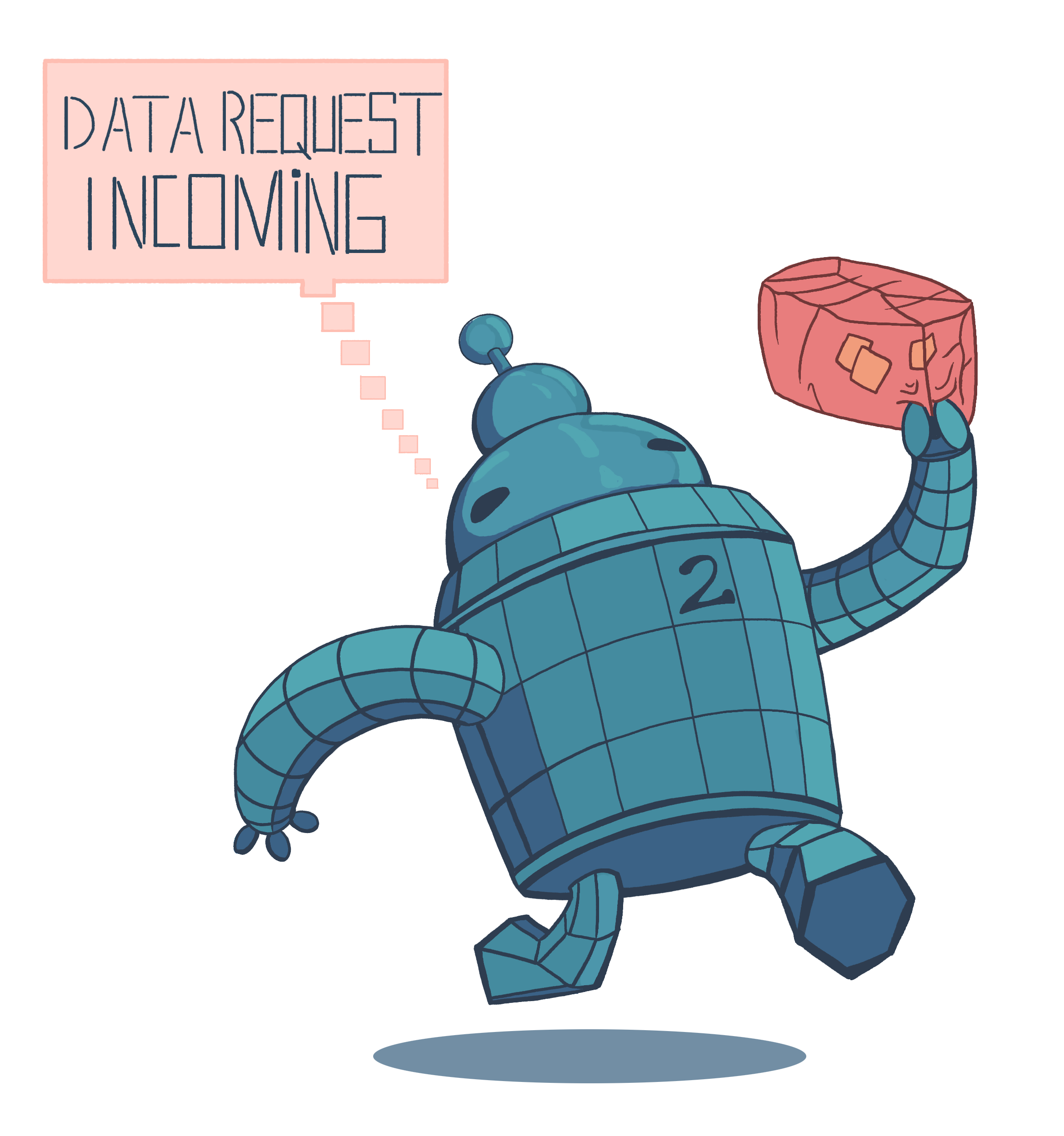 """A little robot helper character holding a package. It says """"data request incoming"""". Number two on its chest signifies that it is the current state of search engines."""
