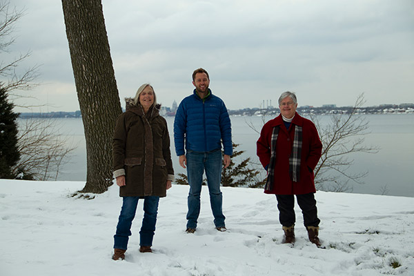 Alder Nancy Moore, Friends President Andrew Kitslaar, and Monona Mayor Mary O'Connor.