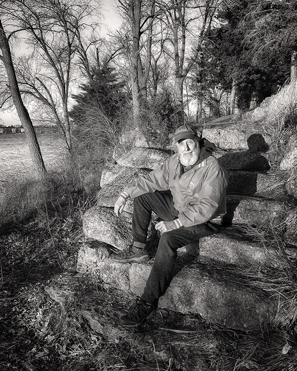 Gregory Bleck, photographer, on the San Damiano property.