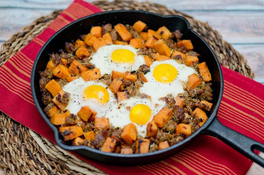 CrossFit Soda City Macro Monday Recipe Sausage & Egg Sweet Potato Hash IIFYM