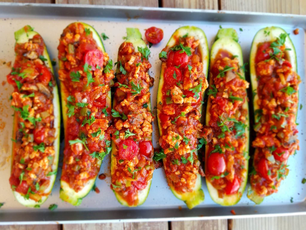 CrossFit Soda City Macro Monday Recipe - Italian Stuffed Zucchini Boats