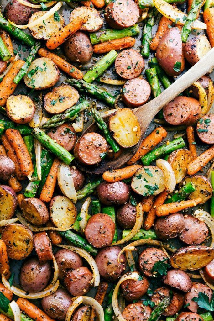CrossFit Soda City Macro Monday Recipe - Roasted Garlic Vegetables and Sausage