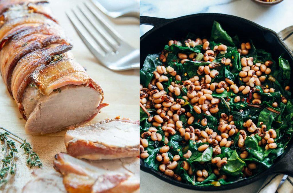 CrossFit Soda City Macro Monday Recipe - Bacon Wrapped Pork Tenderloin with Black Eyed Peas and Greens