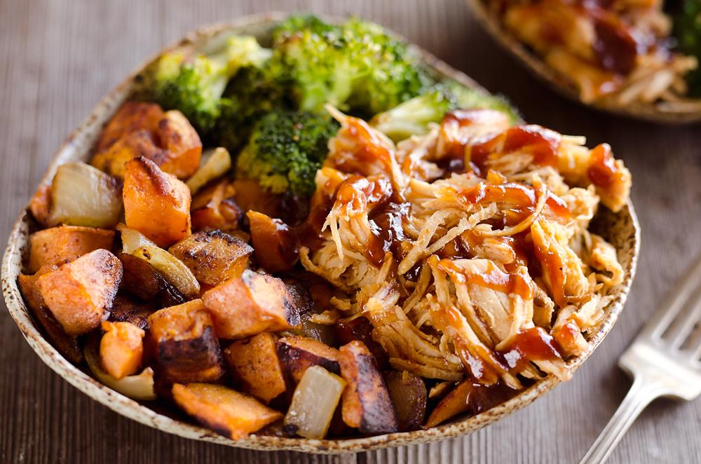 CrossFit Soda City Macro Monday Recipe - BBQ Chicken & Roasted Sweet Potato Bowls