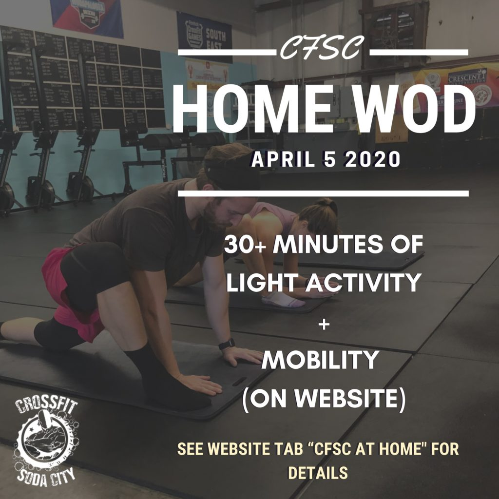 """CrossFit Soda City """"At Home"""" WOD for Sunday, April 5th"""