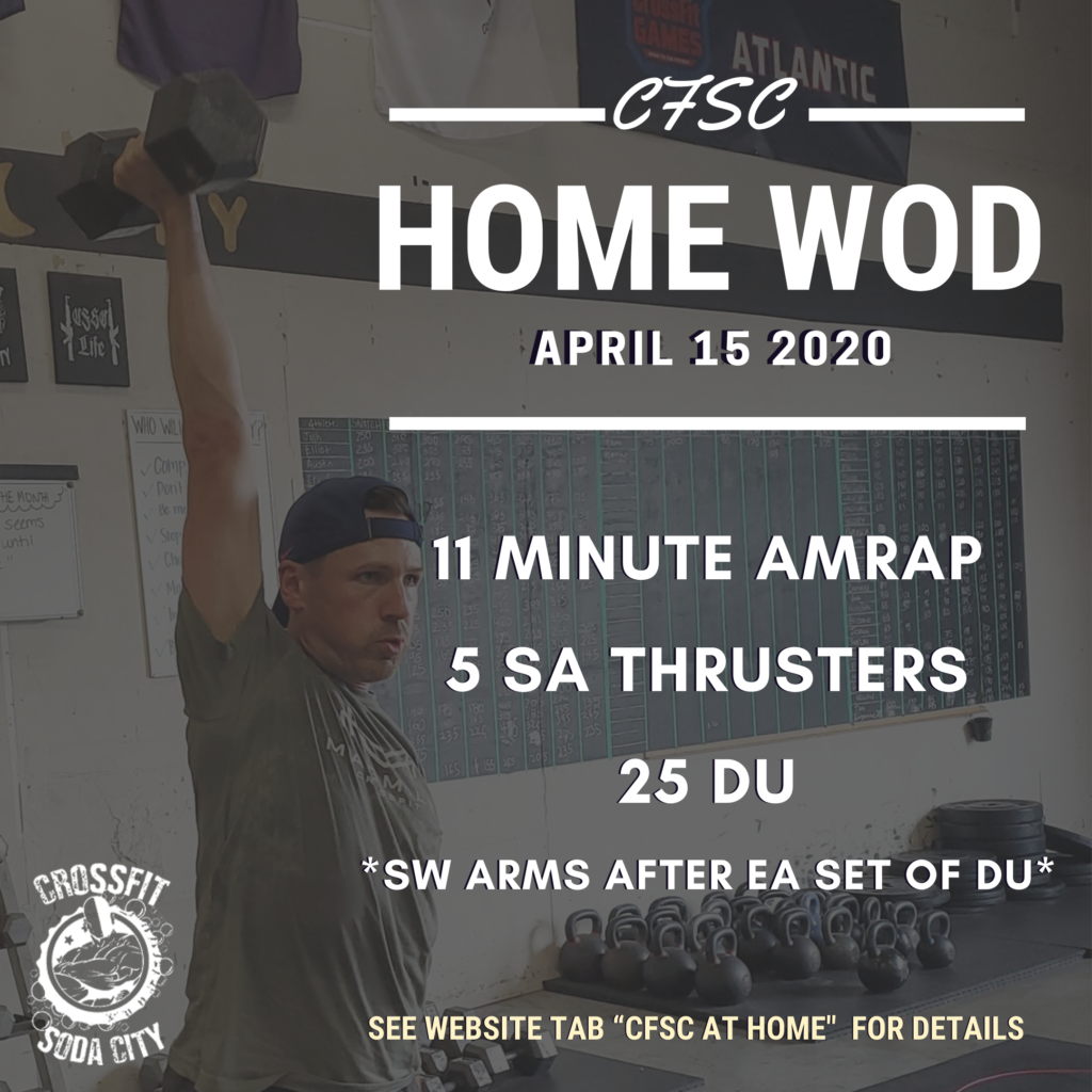 CrossFit Soda City Workout 4/15/2020