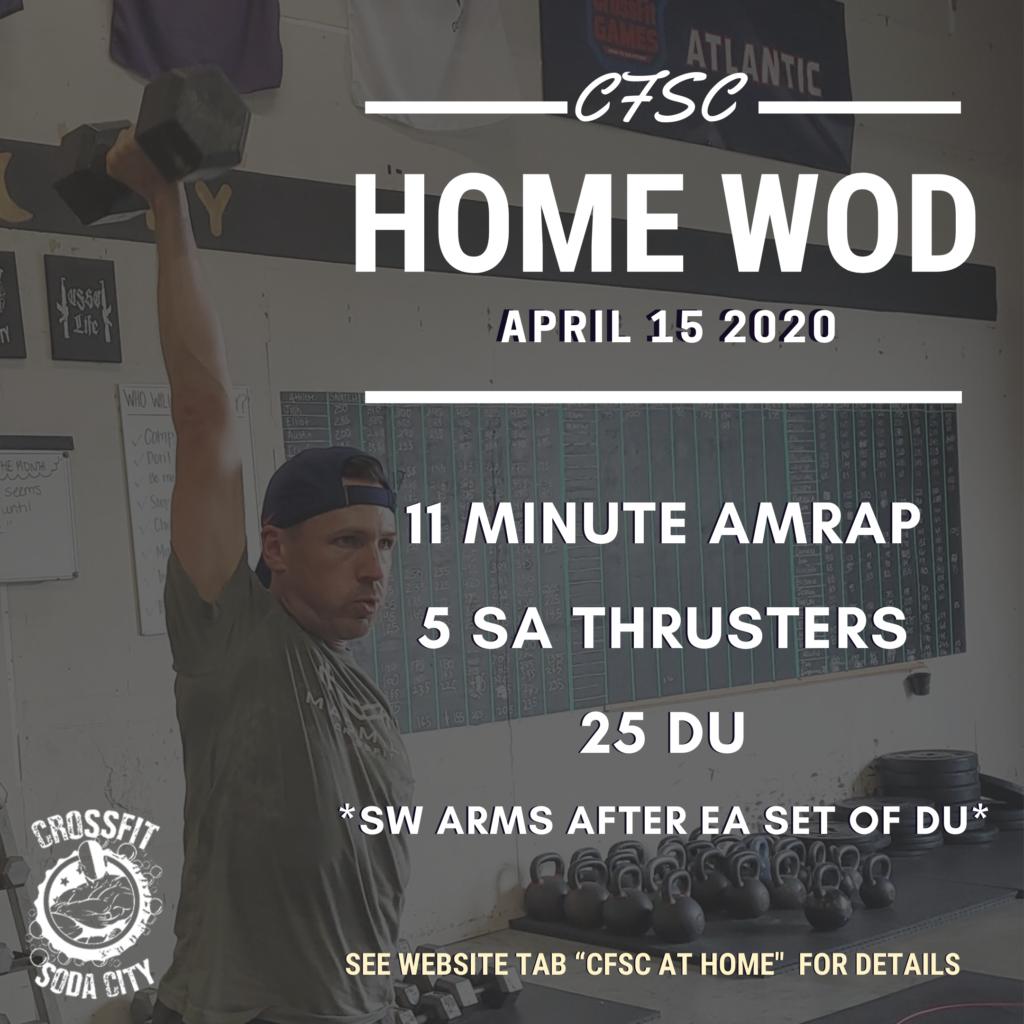 CrossFit Soda City Workout 4/15/2020