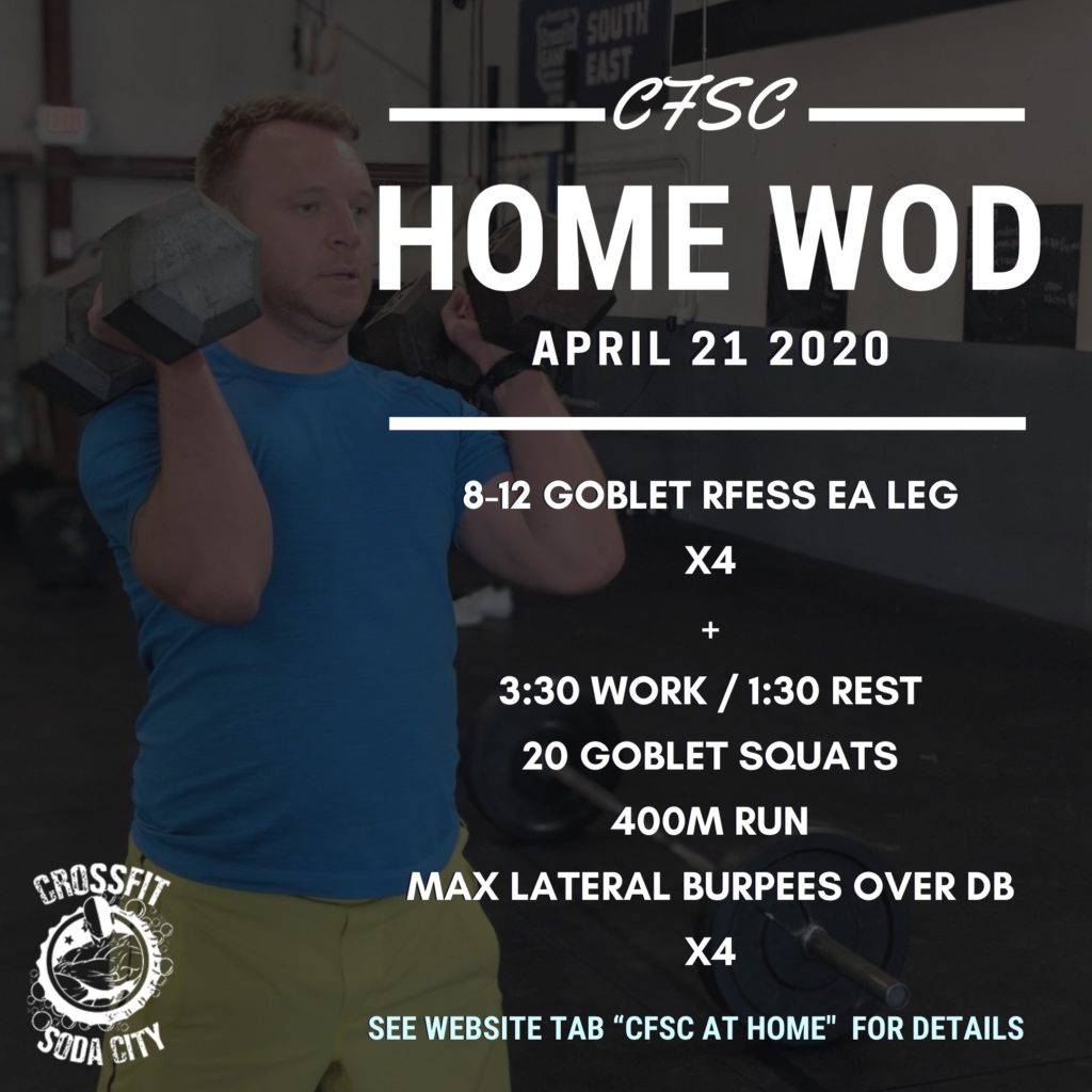CrossFit Soda City WOD for Tuesday, April 21st