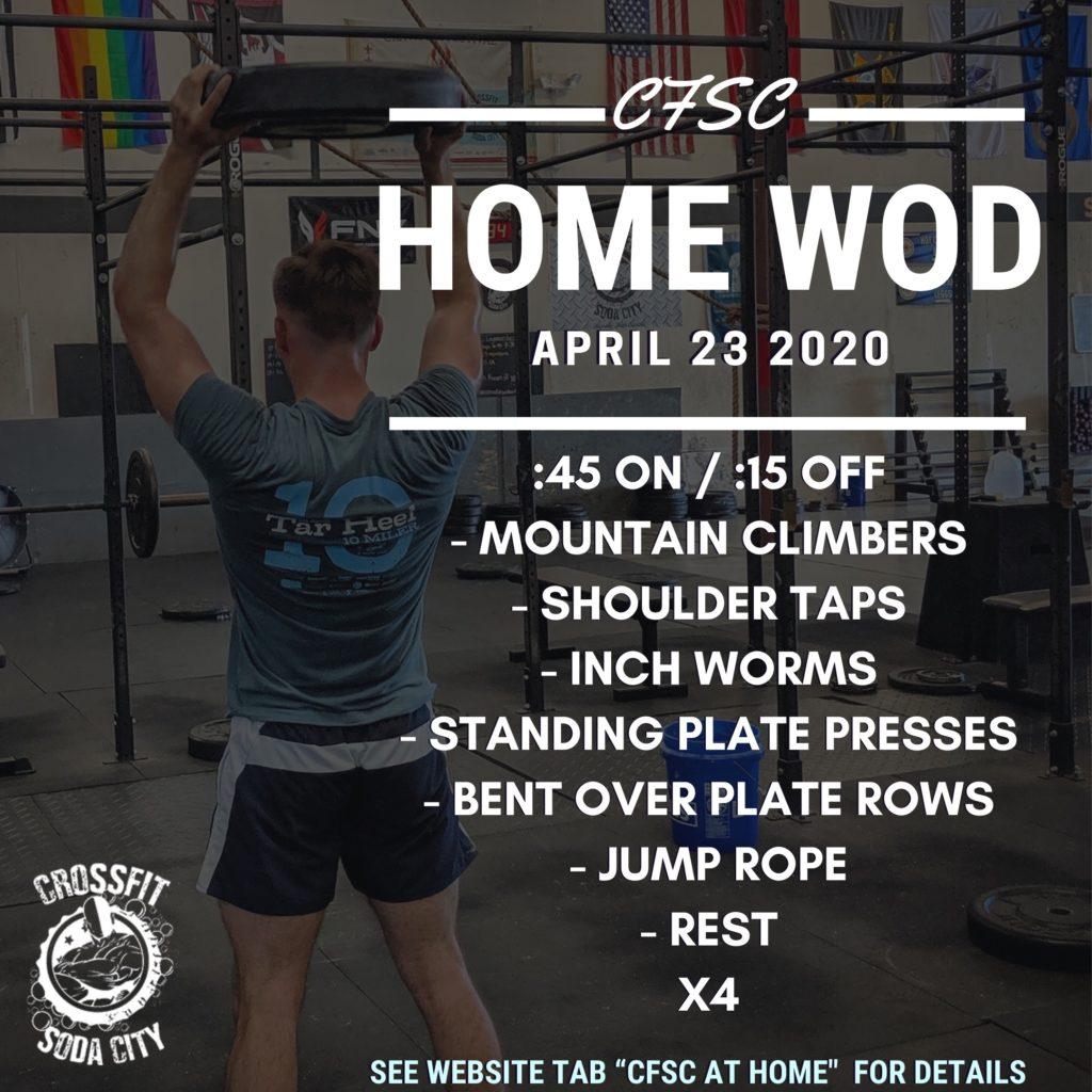 "CrossFit Soda City ""At Home"", Thursday, April 23rd"