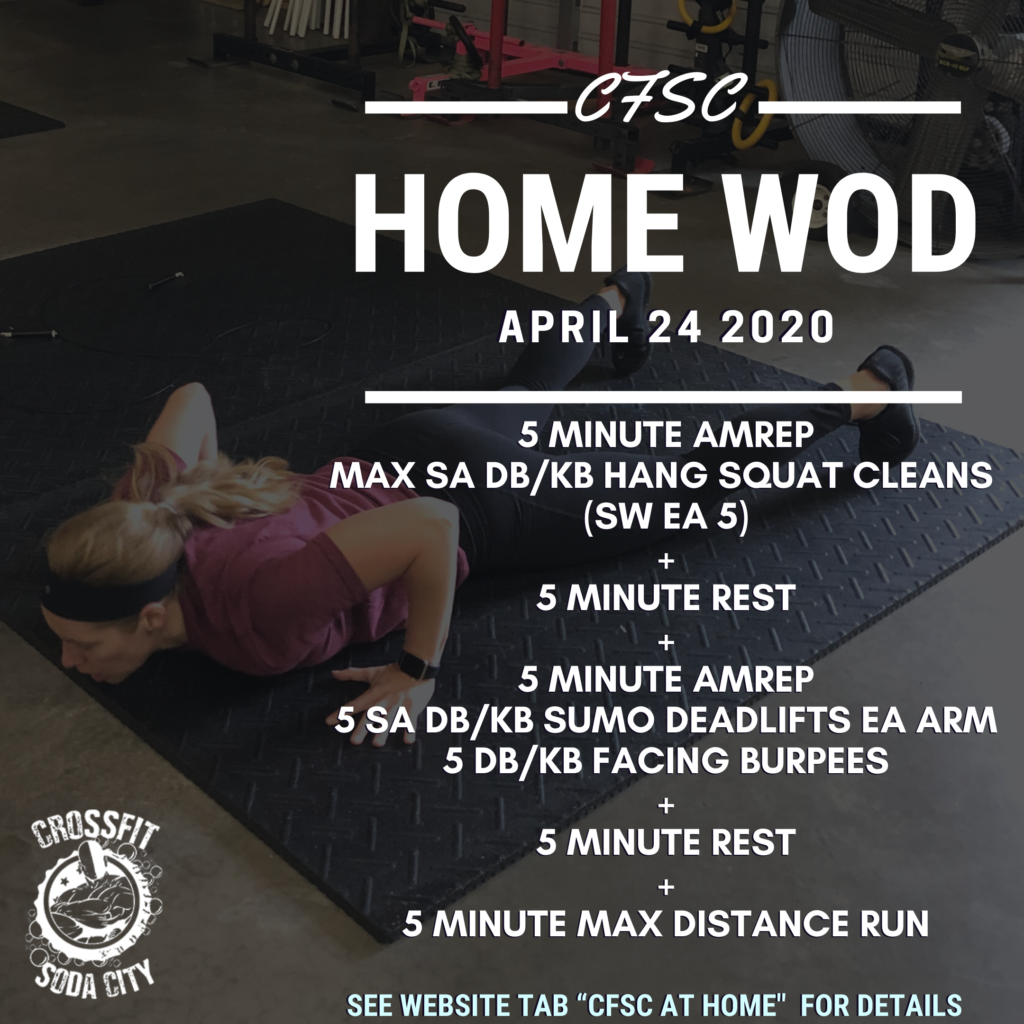 CrossFit Soda City At Home for Friday, April 24th