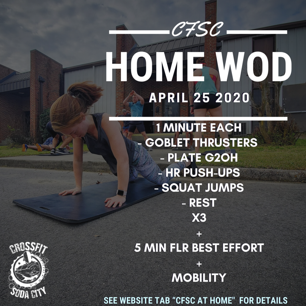 CrossFit Soda City At Home for April 25th