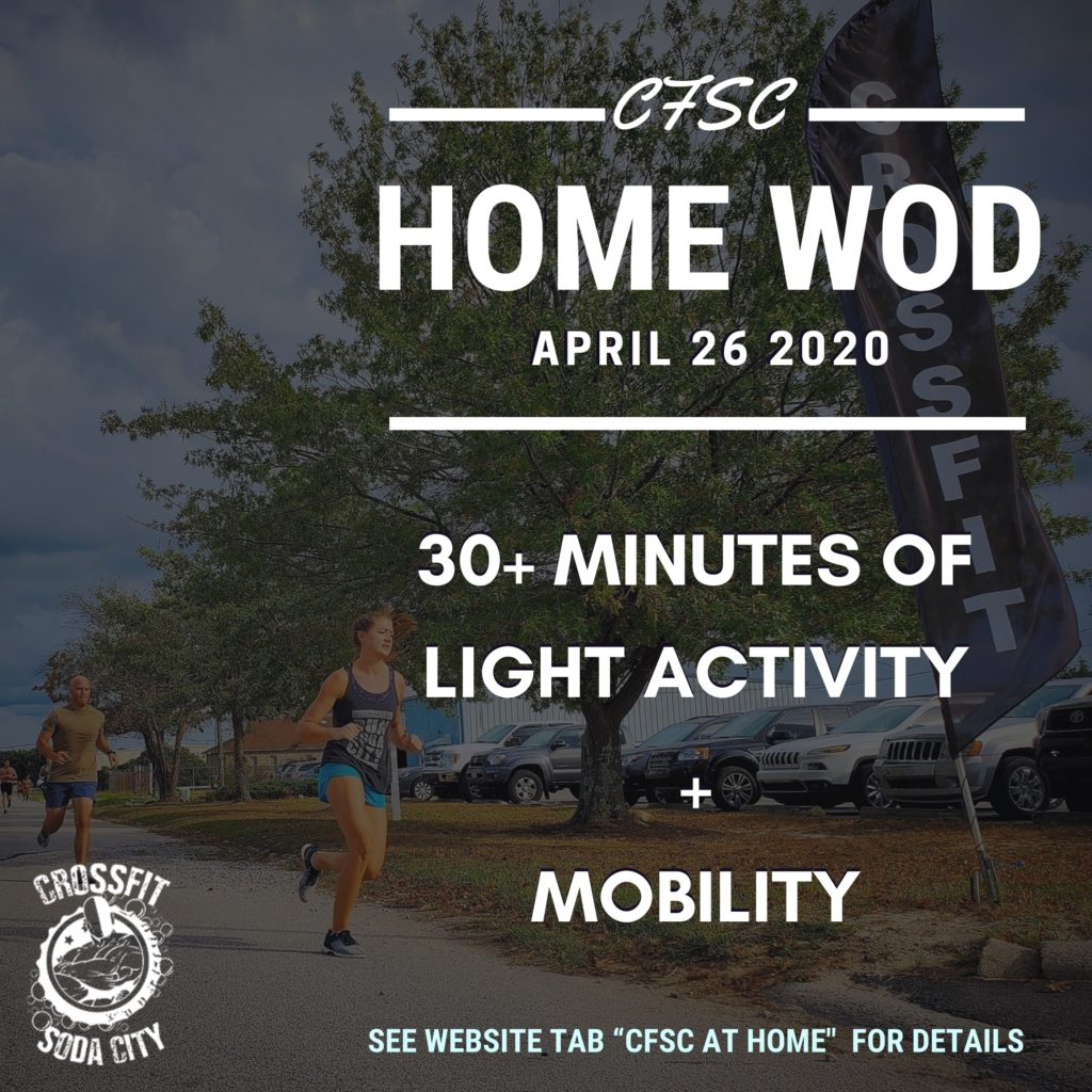 CrossFit Soda City At Home for Sunday, April 26th