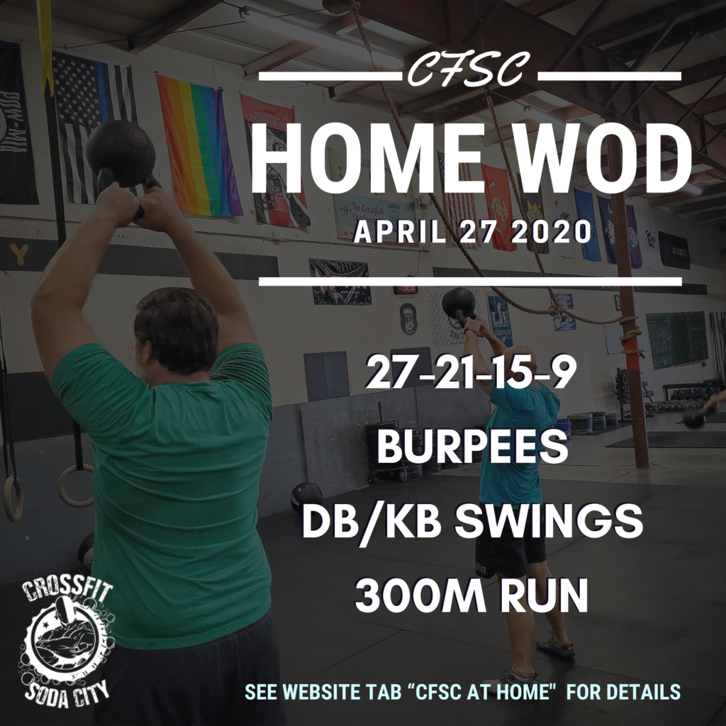 CrossFit Soda City At Home for Monday, April 27th