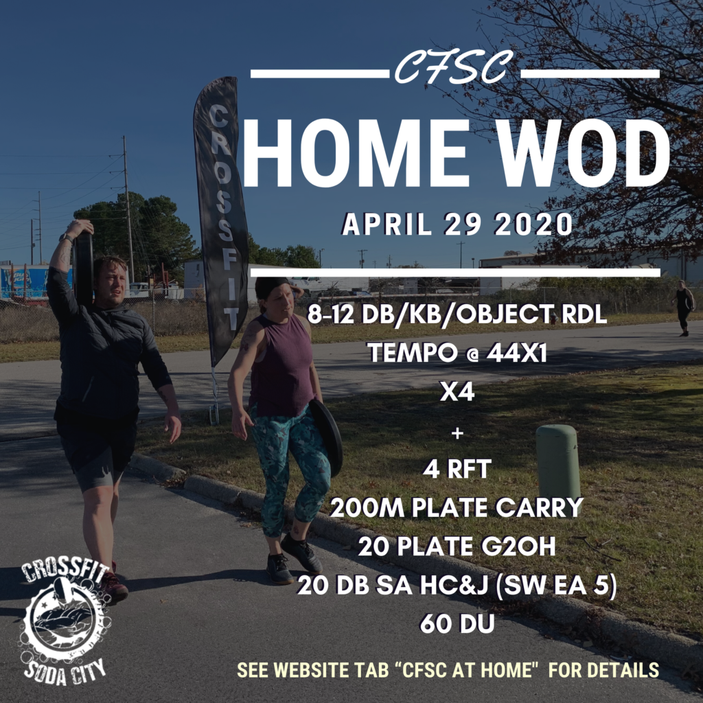 "CrossFit Soda City ""At Home"" for Wednesday, April 29th"
