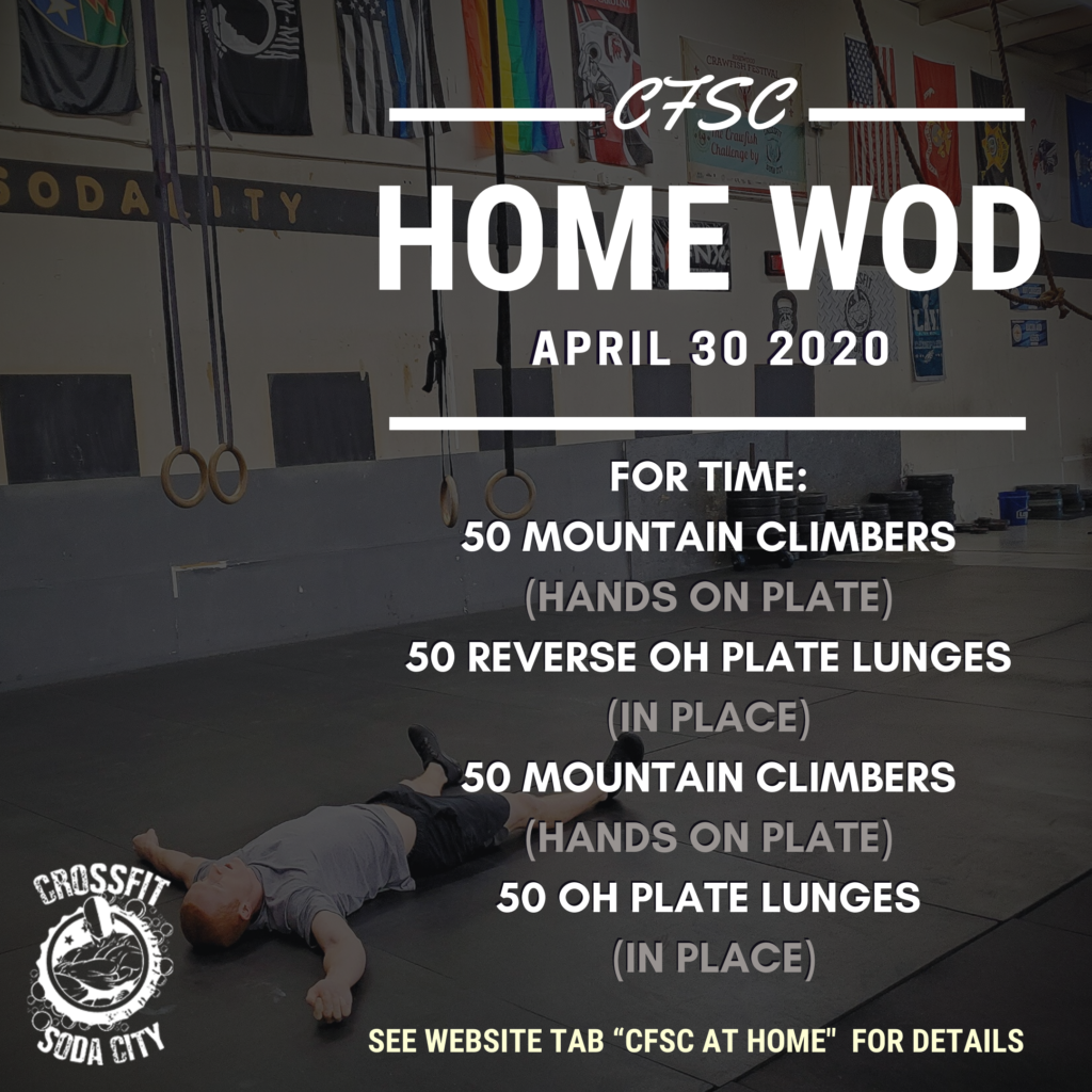 CrossFit Soda City At Home for April 30th