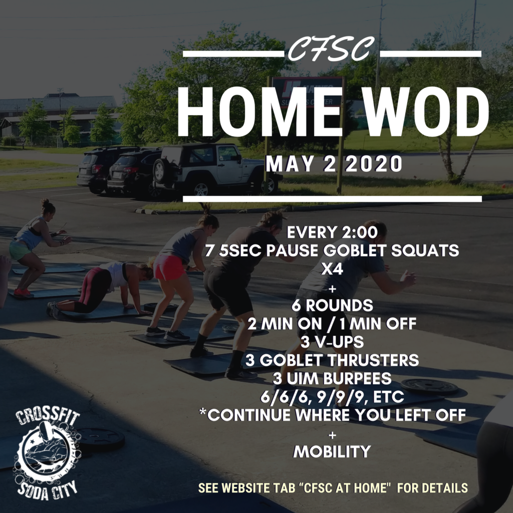 CrossFit Soda City Home Workout for Saturday, May 2nd