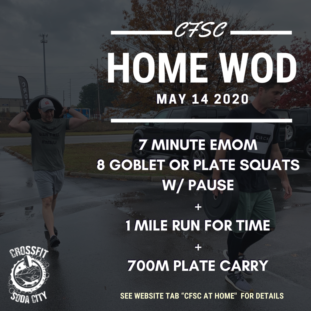 CrossFit Soda City Workout, Thursday, May 14th