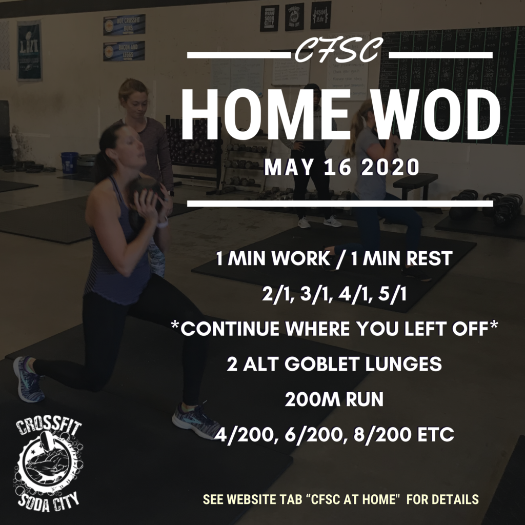 CrossFit Soda City Workout for Saturday, May 16th