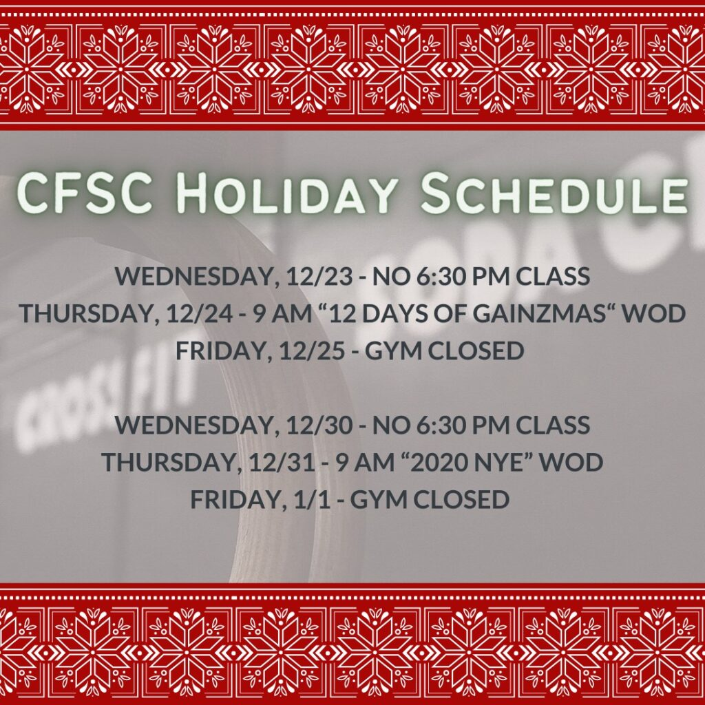 CrossFit Soda City Holiday Schedule