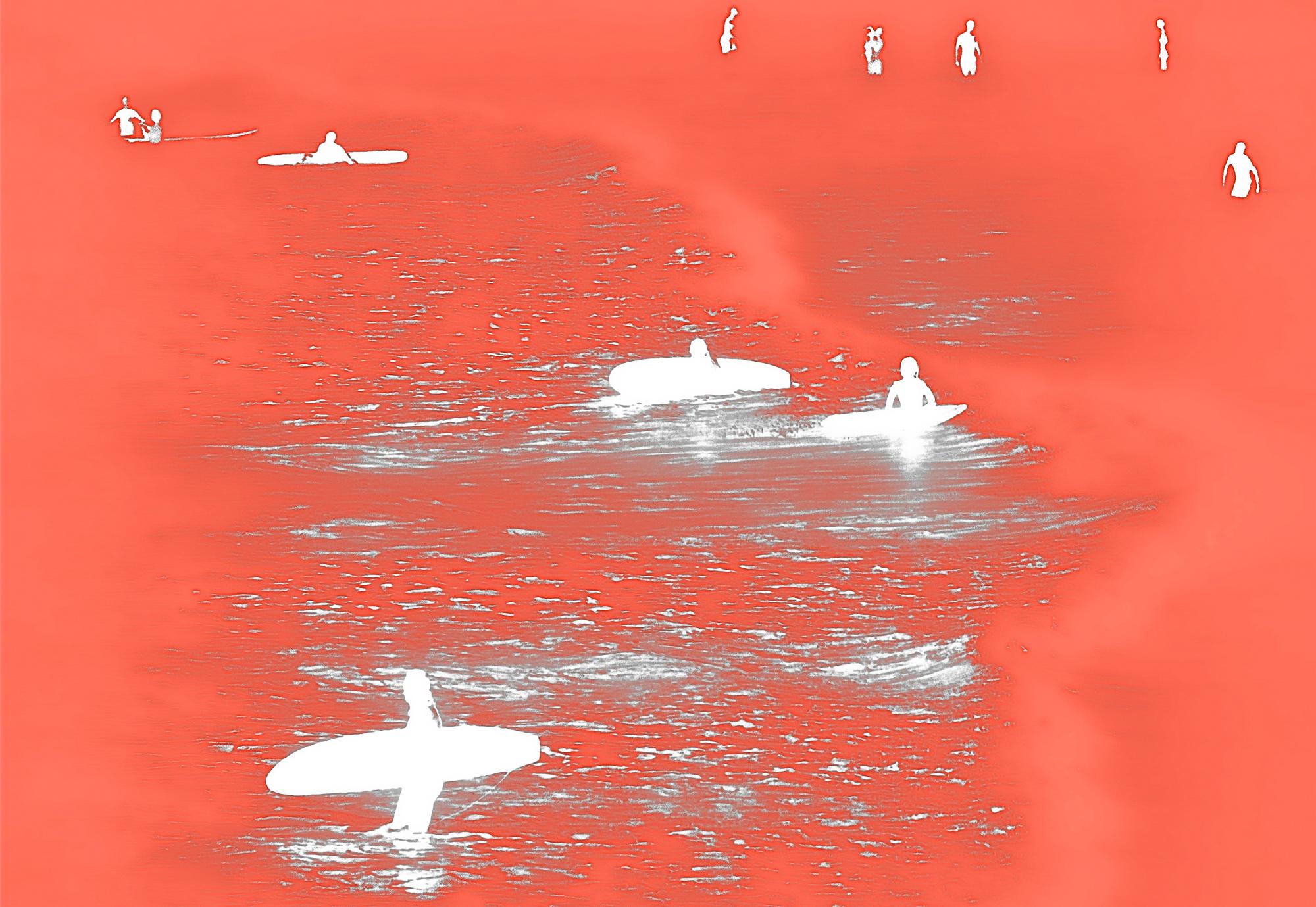 White Surfers on Orange