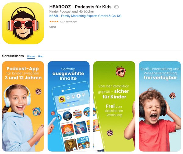 Screenshot von HEAROOZ im Apple App Store
