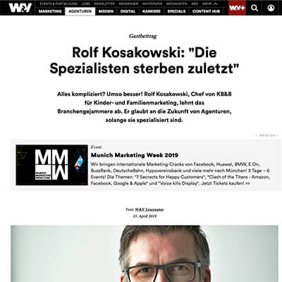 """Gastbeitrag in der W&V: """"Die Spezialisten sterben zuletzt"""""""