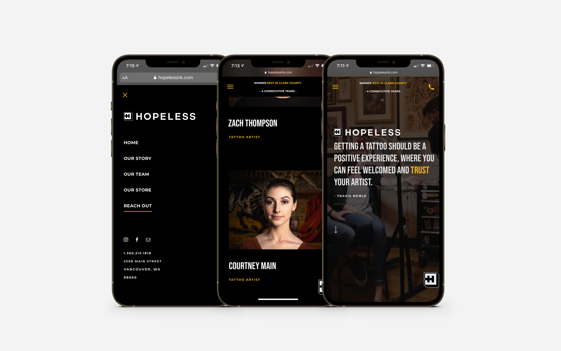 Hopeless phone mockup