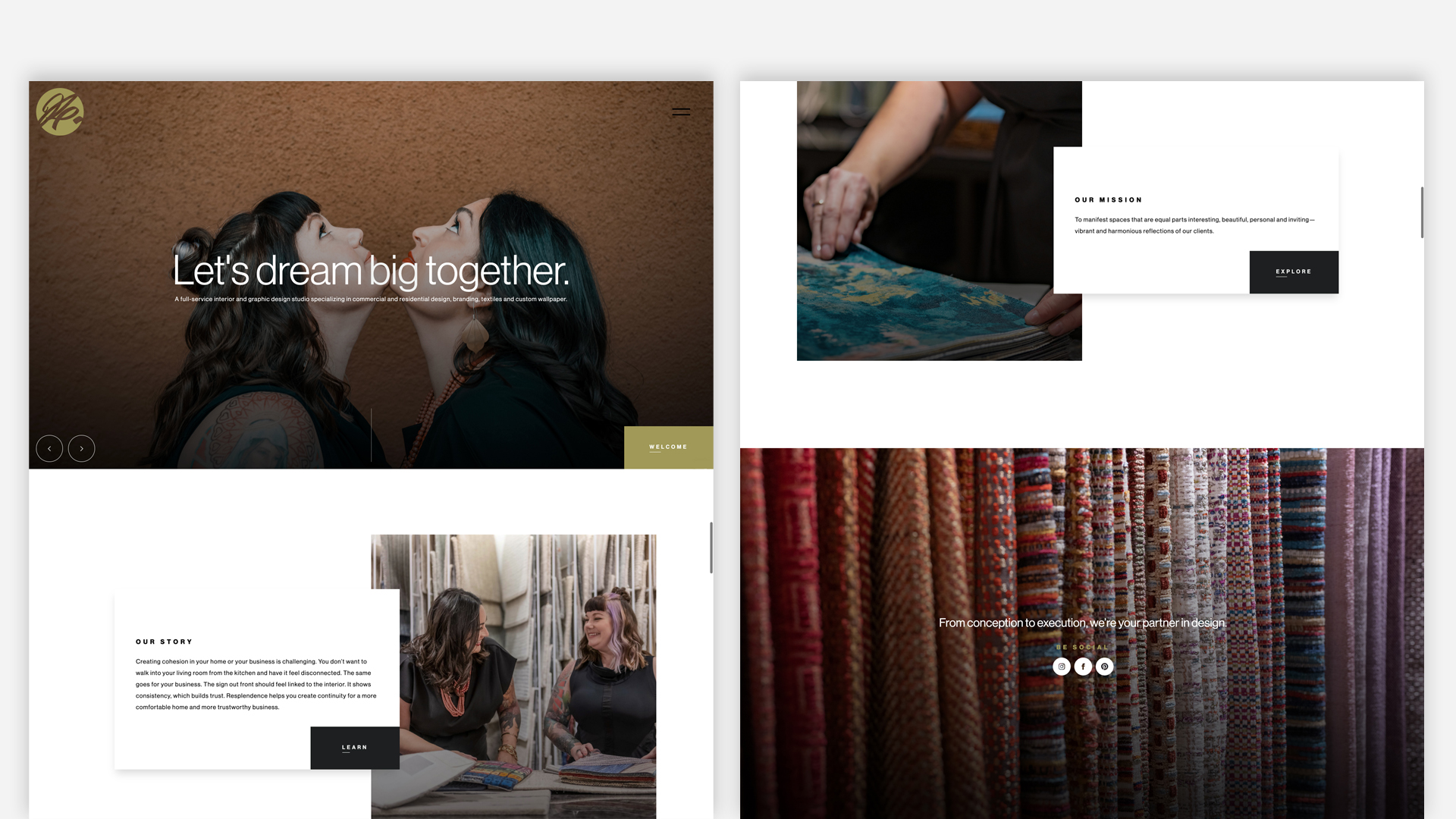Resplendence website layout