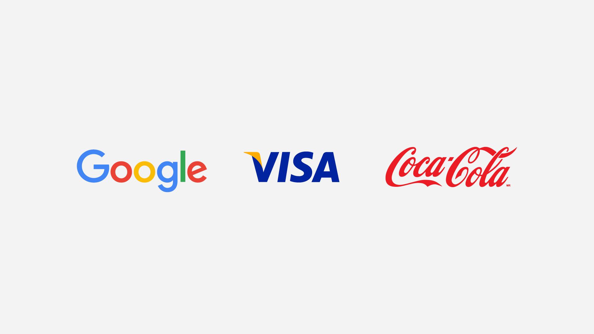 Wordmark Logos for Google, Visa and Coca-Cola