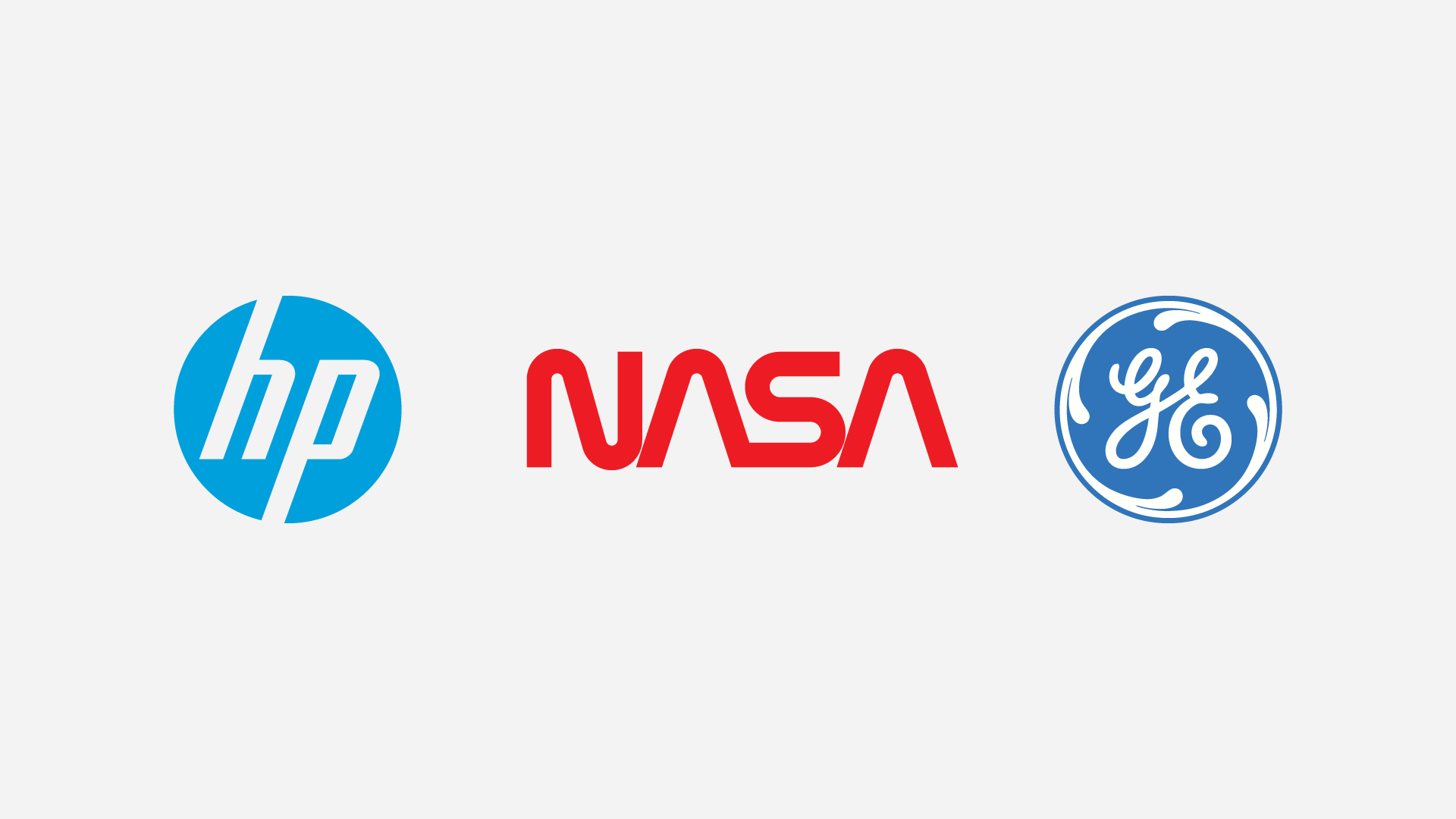 Classic Lettermark Logos for Hewlett Packard, NASA and General Electric