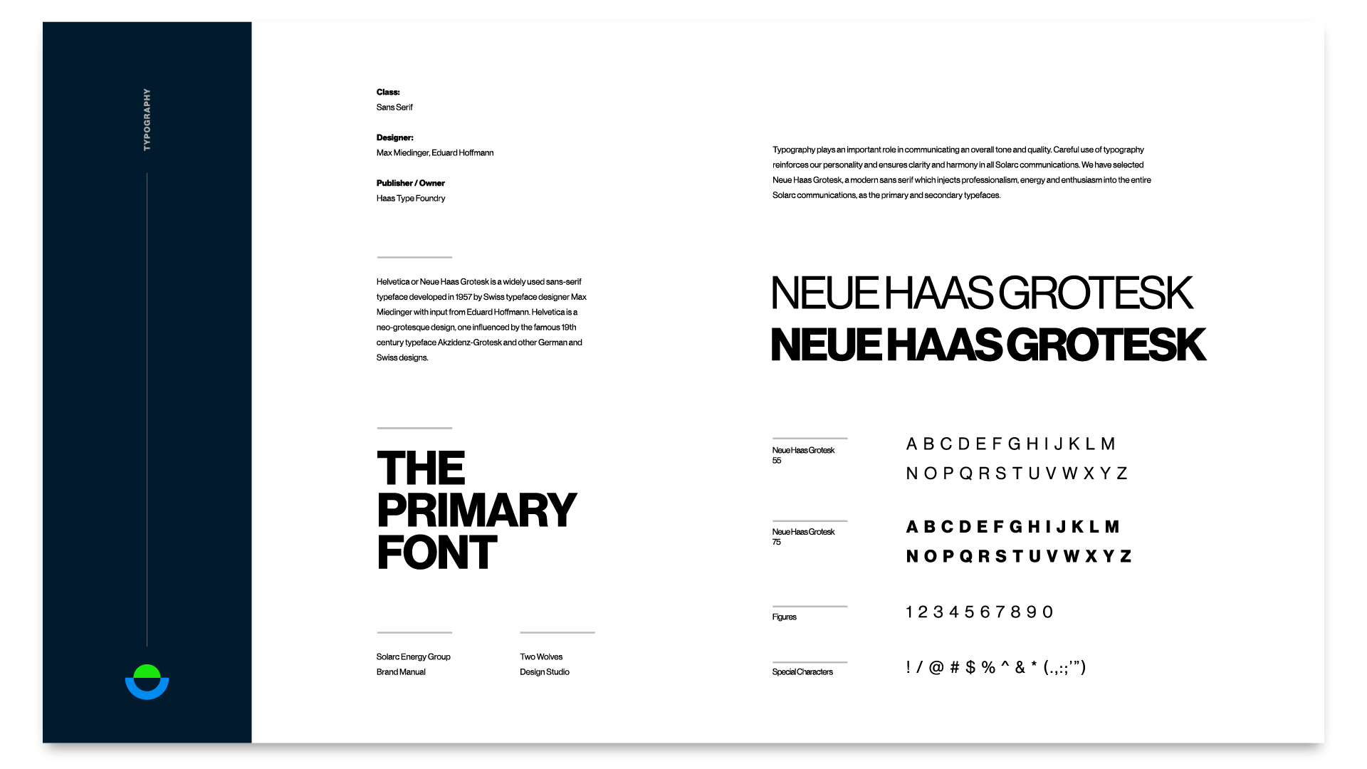 a typography example from a branding package