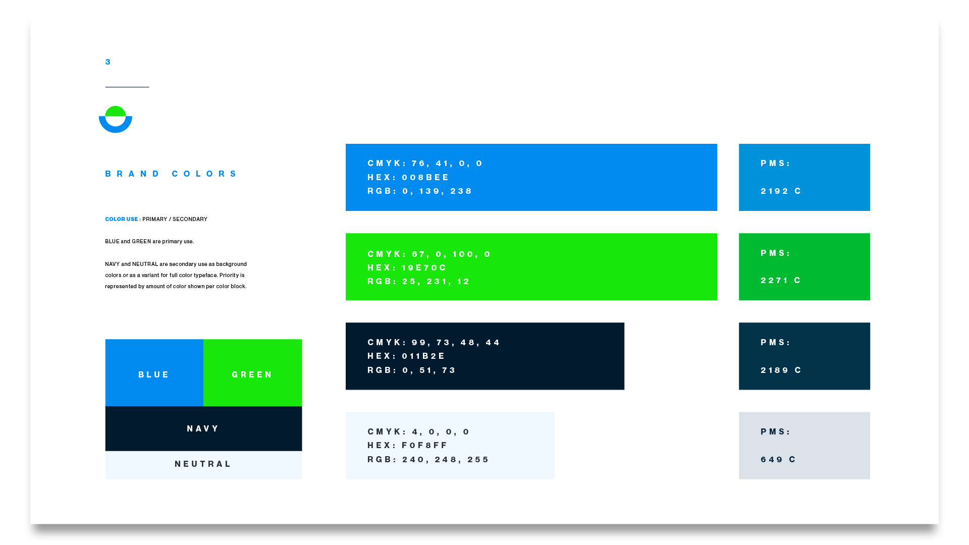 a color palette example from a branding package