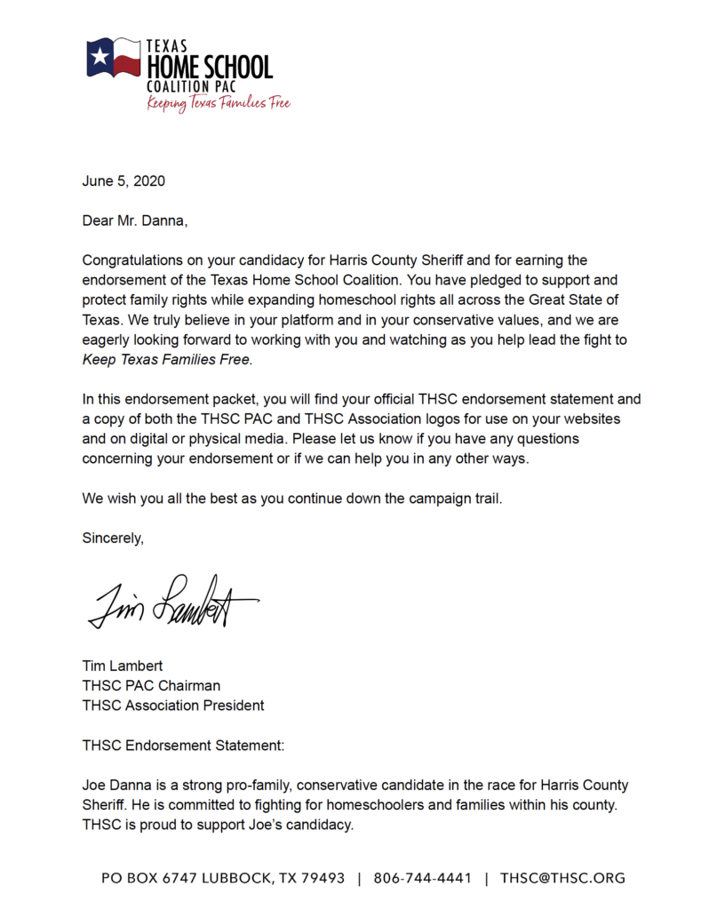 A letter of Jor Danna's endorsement from the Texas Home School Coalition PAC