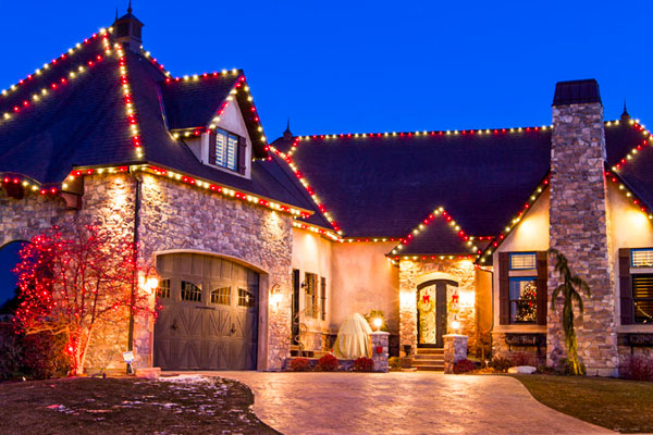 A house with candy pattern lighting.