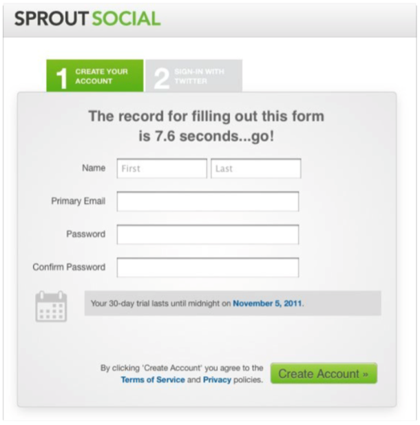 SproutSocial is leveraging micro-gamification on this registration form to increase motivation.