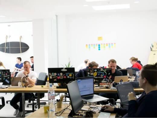 Surf Office workspace in Lisbon, Portugal, work retreat in progress