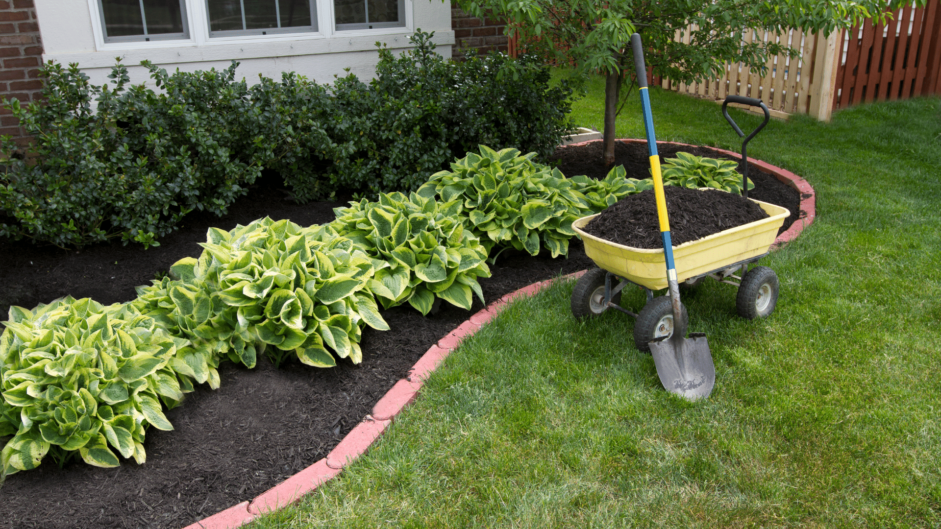 Adding wood chips to flower bed.