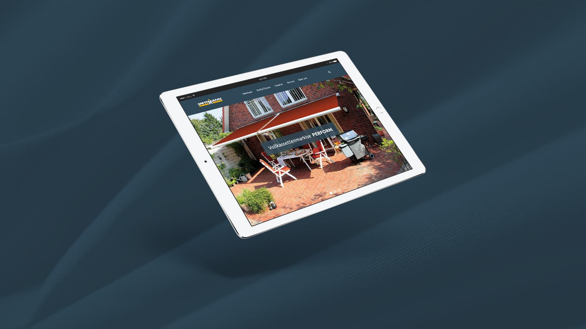 Spettmann-Website auf Tablet