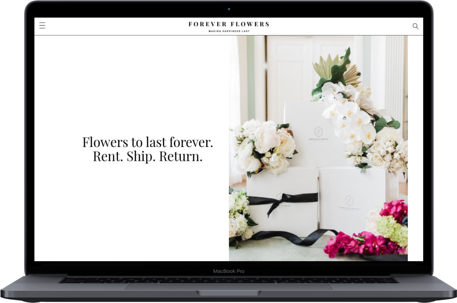 A Macbook Pro Mockup with the Forever Flowers Delivery Website