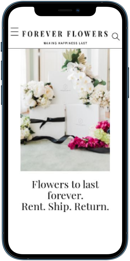 An iPhone Mockup with the Forever Flowers Delivery Website