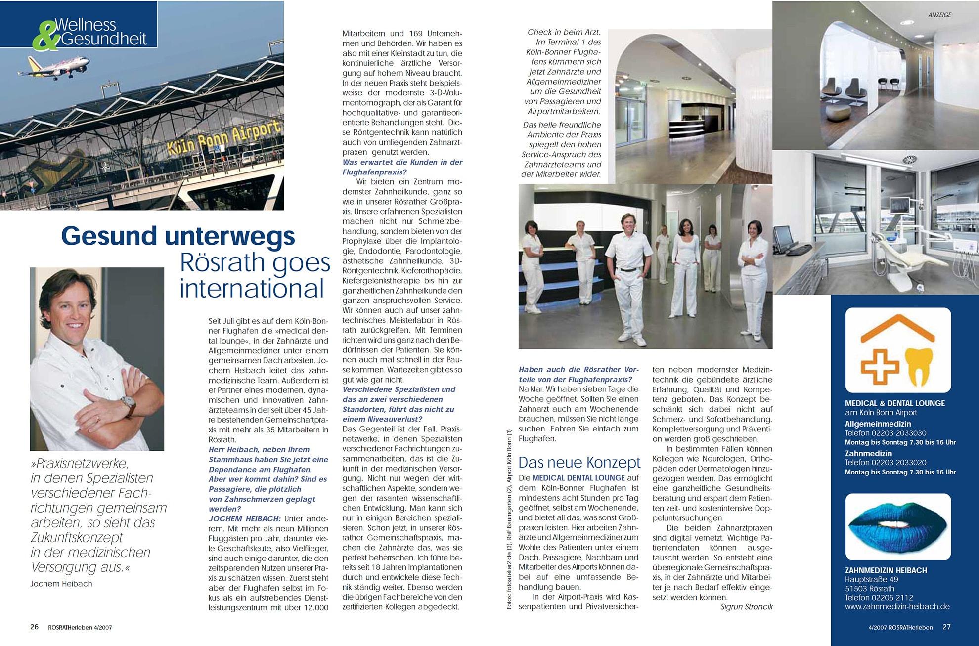 Z-MVZ dental suite - Pressemitteilung: Gesund unterwegs - Rösrath goes international