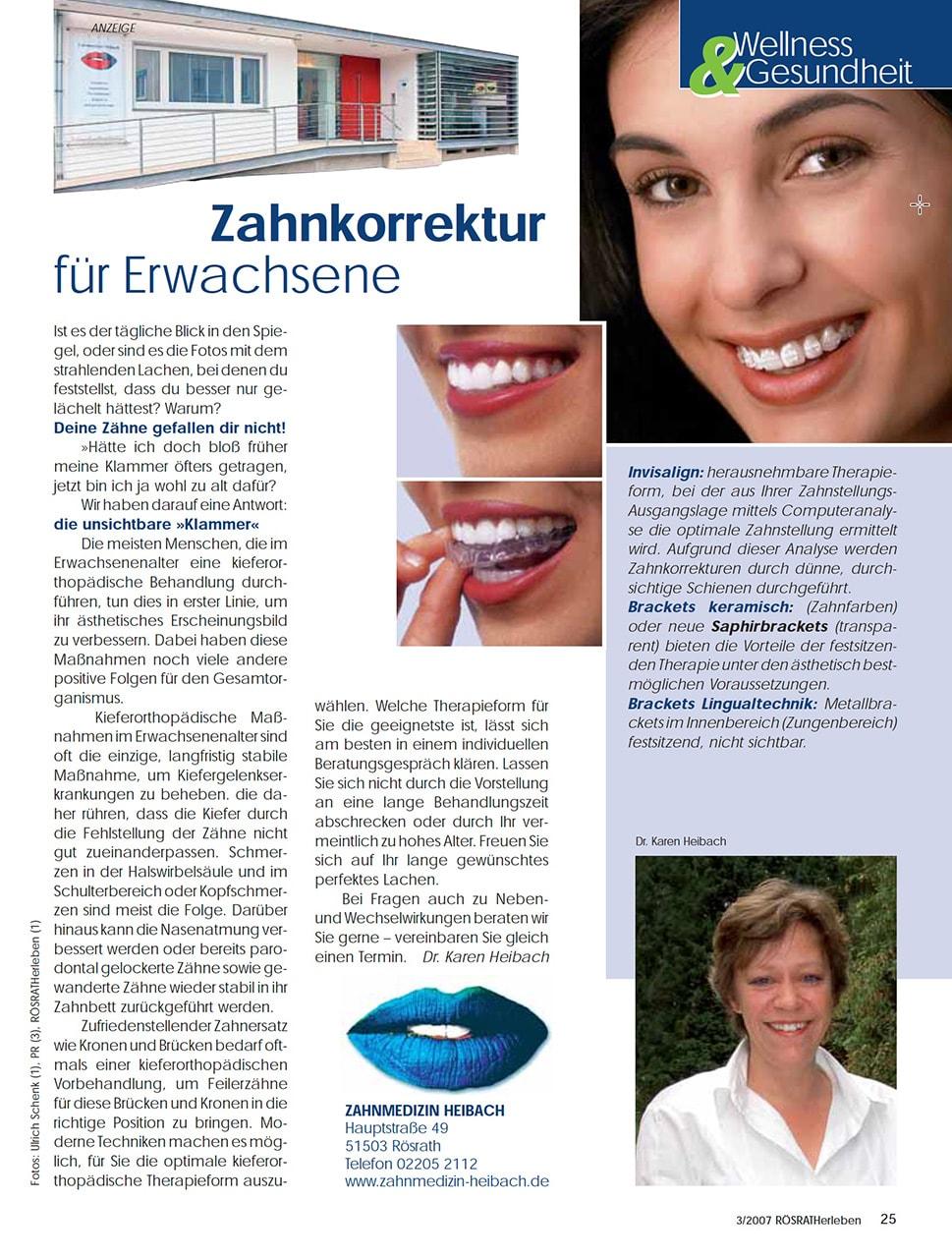 Z-MVZ dental suite - Pressemitteilung: Zahnkorrektur für Erwachsene
