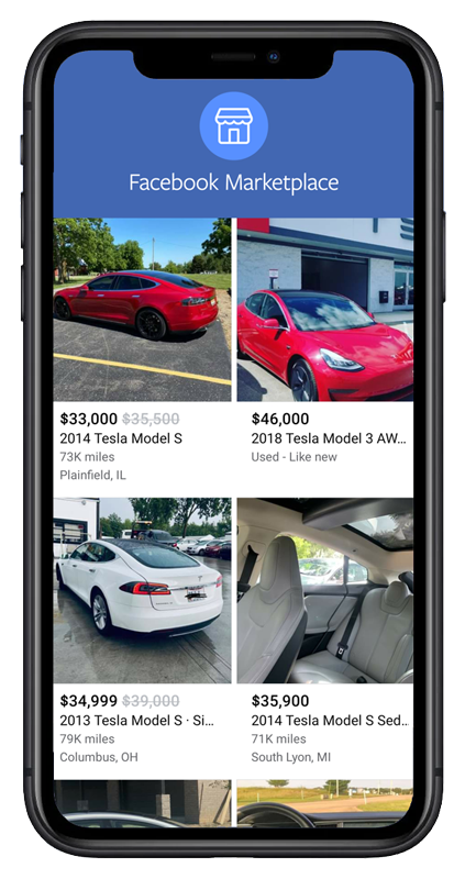 image of an iphone scrolling facebook marketplace