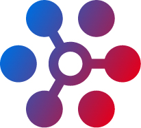 gradient icon of linked and unlinked circles