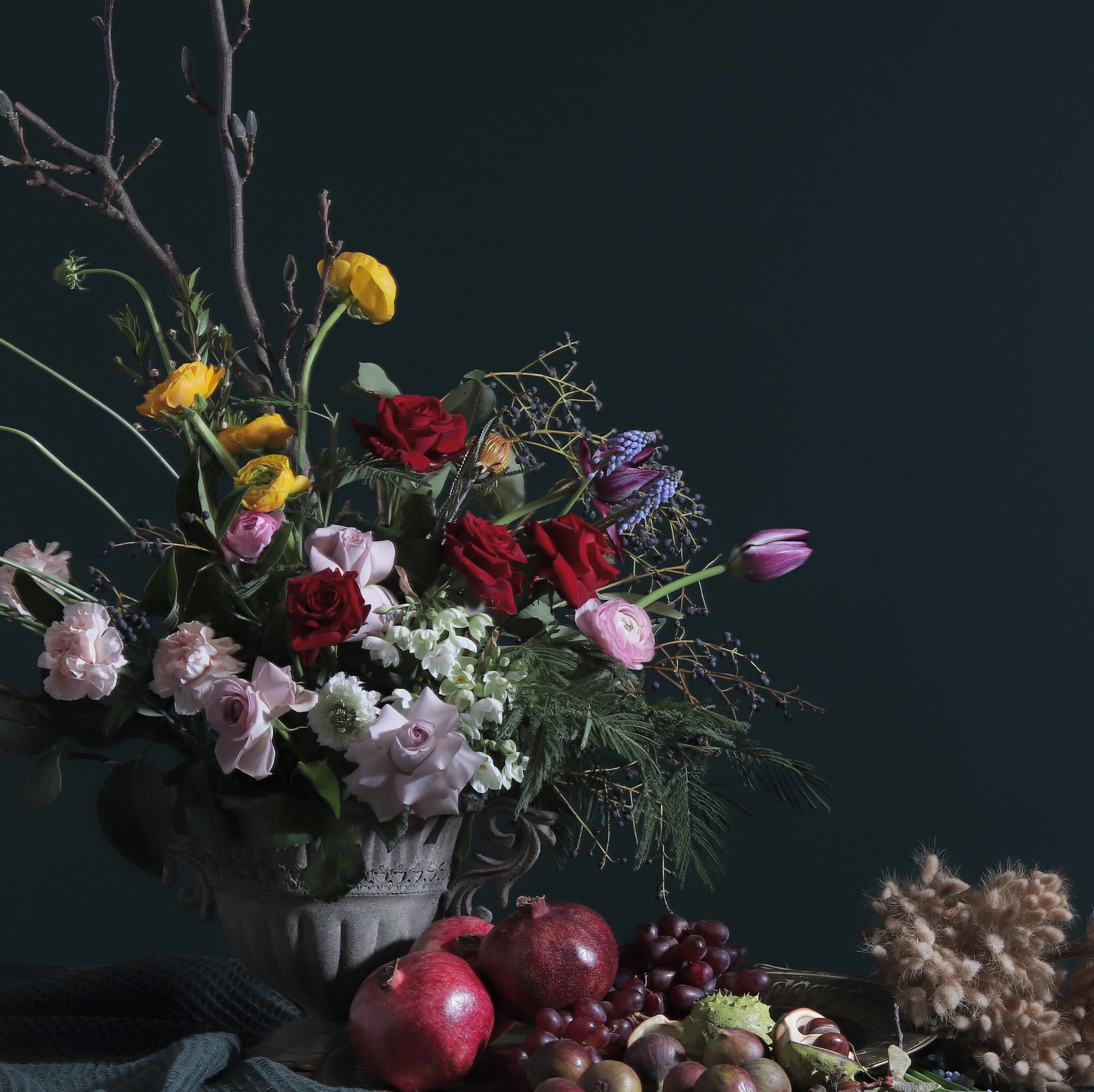Dutch master's style table flowers, fine dining