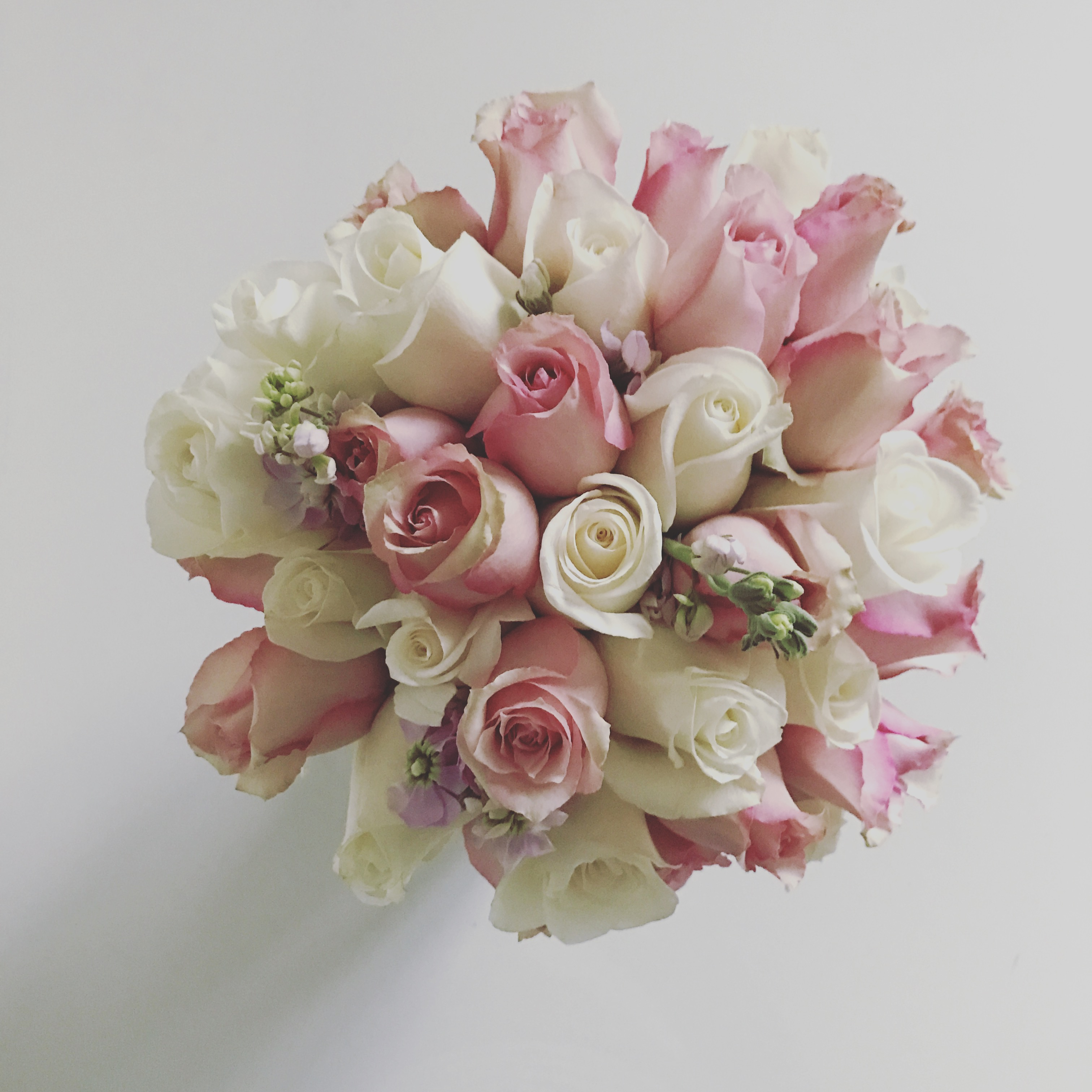 Soft pink, seasonal bridal bouquet
