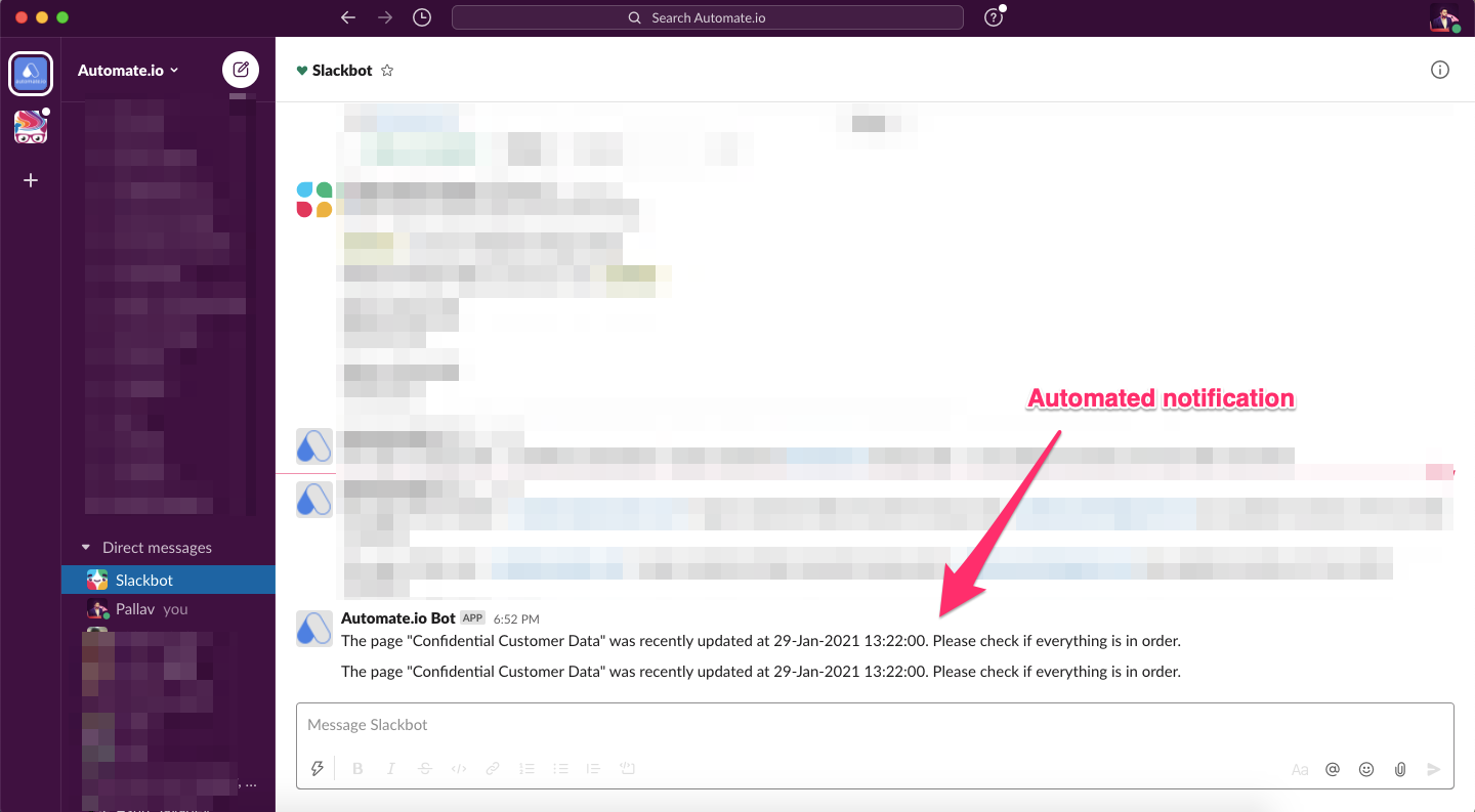 automated notification in slack from Notion using automate.io