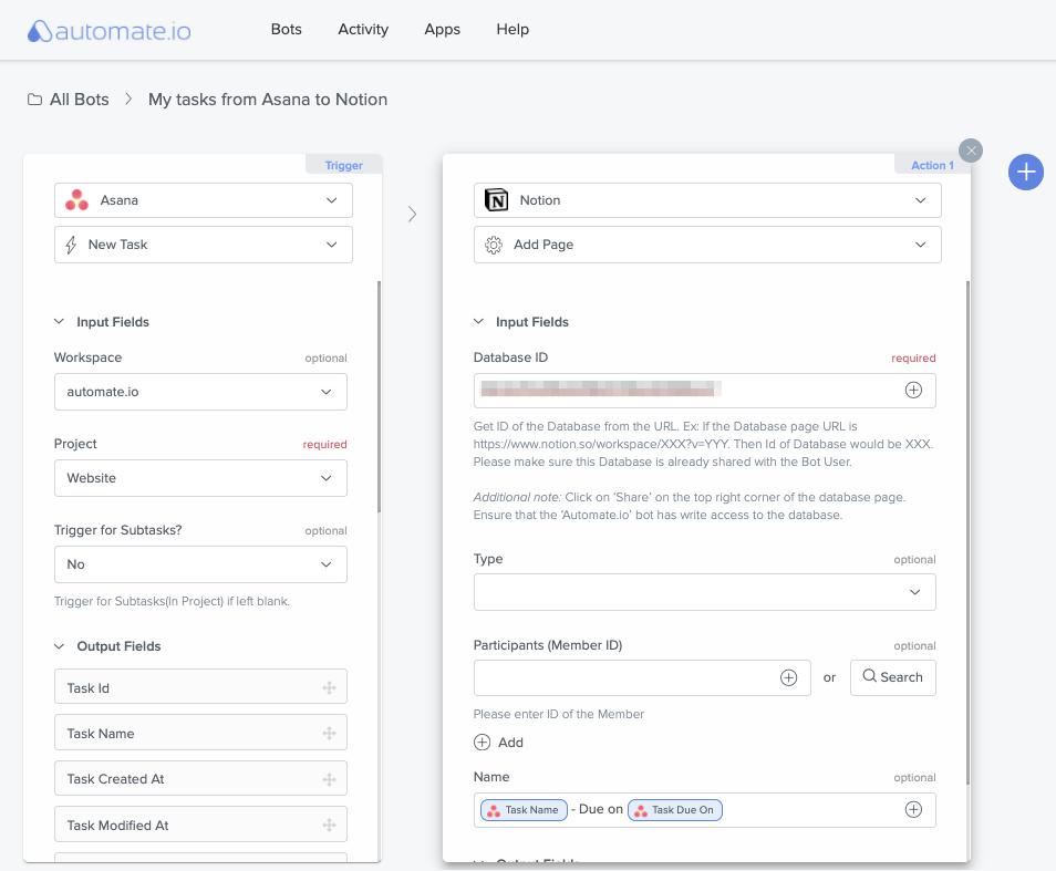 sync asana tasks to notion using automate.io