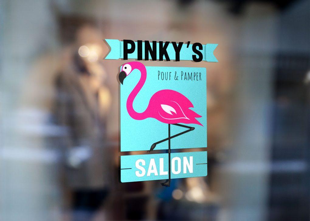 Pinky's Salon Window Graphic
