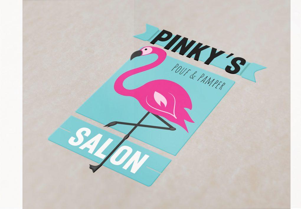 Pinky's Salon Logo Mockup
